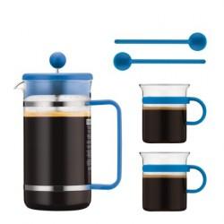 Bistro Set, cafetière à piston 1 litre couleur avec 2 tasses et agitateur - Bodum
