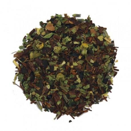 Juicéa Sérénité, mélange de Rooibos et de plantes aromatisé pour se détendre.