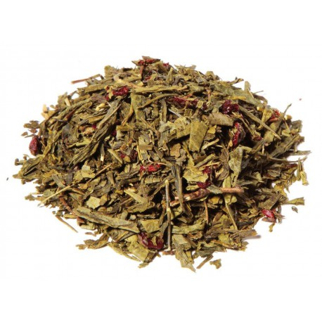 Thé vert de Chine aromatisé cerise avec morceaux de fruits
