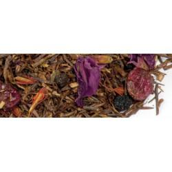 Rooibos Fruits Noirs, thé rouge d'Afrique aromatisé fruits rouges avec morceaux de fruits.