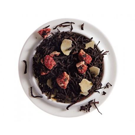 Le Nombril du Moine, thé noir aromatisé fraise et macaron - Comptoir Francais du Thé