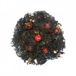 """"""" Cassis """", thé noir aromatisé agrémenté de feuilles de mûrier et groseilles entières"""