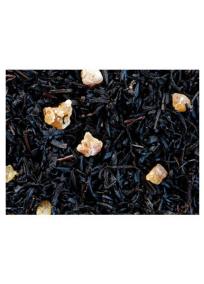""""""" Mangue """", thé noir aromatisé à la Mangue avec morceaux de fruits."""