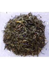 Herbe bleue, thé vert aromatisé aux fruits rouges, dattes et figue avec une touche de fleur d'oranger