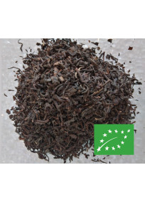 Thé noir aromatisé agrumes, vanille et rhum. Bio