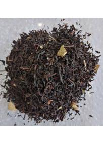 Thé noir matin calme aromatisé orange, caramel, cannelle et cassis avec des feuilles de mûrier et écorces d'orange.