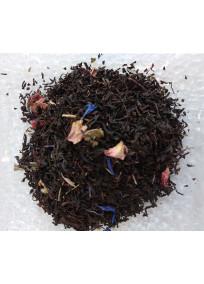 thé noir aromatisé rose, lotus, jasmin et violette avec des pétales de fleurs.