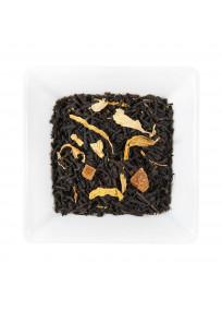 Thé noir au fruit de la passion avec des morceaux de fruits et pétales de fleurs