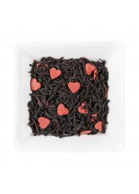 Thé noir de Chine non fumé aromatisé à la myrtille et aux fruits noirs avec des petits coeurs en sucre.
